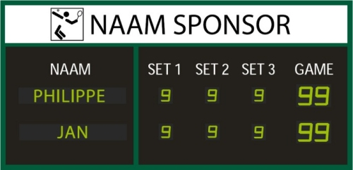 Tennis score display